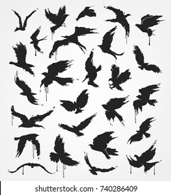 figures of flying birds in grunge style colors