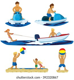 Figures Jet Ski, Water Ski, Boating, Beach Activities. Man playing beach ball with the children done in flat graphic colors