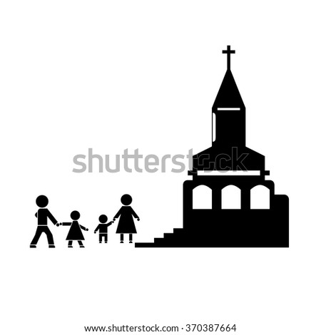 Figures People People Go Church Family Stock Vector Royalty Free