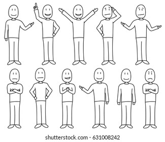 Figures in poses showing various moods and emotions in hand drawn style, male set