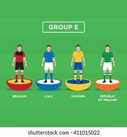 Figurine Football (Football), groupe E. Conception vectorielle modifiable.