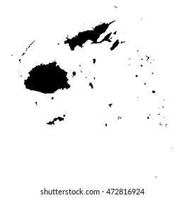 Fiji black map on white background vector