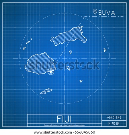fiji blueprint map template capital city stock vector royalty free