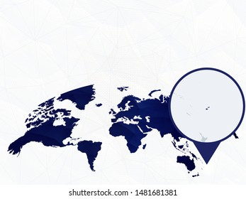Fiji detailed map highlighted on blue rounded World Map. Map of Fiji in circle.