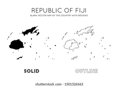 Fiji map. Blank vector map of the Country with regions. Borders of Fiji for your infographic. Vector illustration.