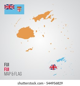 Fiji Map and Flag