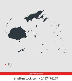 Fiji map flat icon, vector illustration on gray background
