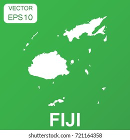 Fiji map icon. Business concept Fiji pictogram. Vector illustration on green background.