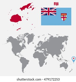 Fiji map on a world map with flag and map pointer. Vector illustration