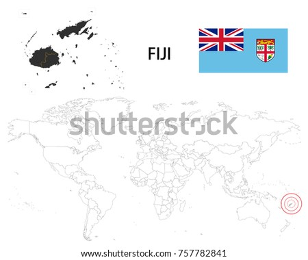 Fiji Map On World Map Flag Stock Vector (Royalty Free) 757782841 ...