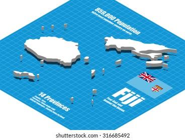 Fiji map vector three dimensional