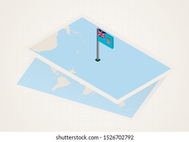 Fiji selected on map with isometric flag of Fiji. Vector paper map.