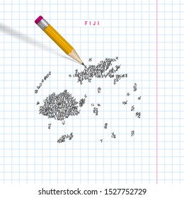 Fiji sketch scribble map drawn on checkered school notebook paper background. Hand drawn vector map of Fiji. Realistic 3D pencil with rubber.