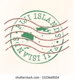 Fiji Stamp Postal. Map Silhouette Seal. Passport Round Design. Vector Icon. Design Retro Travel.