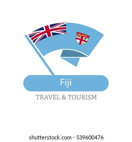 Fiji The Travel Destination logo - Vector travel company logo design - Country Flag Travel and Tourism concept t shirt graphics - vector illustration