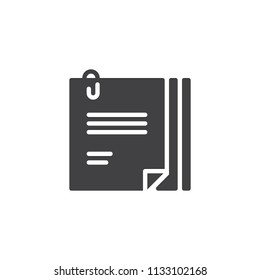File Attach vector icon. filled flat sign for mobile concept and web design. Attach Paper Document simple solid icon. Symbol, logo illustration. Pixel perfect vector graphics