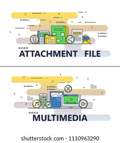 File attachment and multimedia template set. Vector modern thin line art flat style design elements for website banners and printed materials.