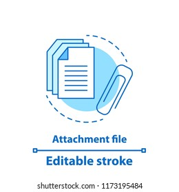 File attachment test concept icon. Attach document idea thin line illustration. Email attachment. Vector isolated outline drawing. Editable stroke