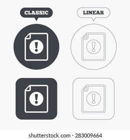 File attention sign icon. Exclamation mark. Hazard warning symbol. Classic and line web buttons. Circles and squares. Vector