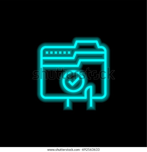 File blue glowing neon ui ux icon. Glowing sign logo vector