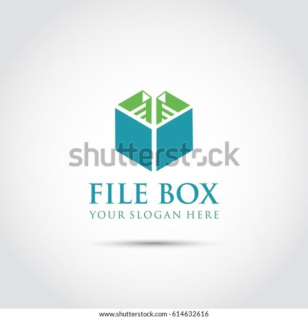 File Box Logo Template Vector Illustrator Stock Vector