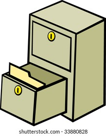 file cabinet with an open drawer