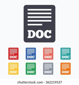 File document icon. Download doc button. Doc file symbol. Colored flat icons on white background.