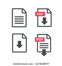 File download icon. PDF Upload icon vector
