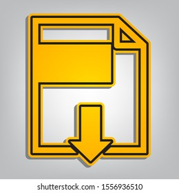 File download sign. Flat orange icon with overlapping linear black icon with gray shadow at whitish background. Illustration.