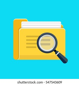 File folder directory and magnifying glass icon
