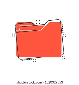 File folder icon in comic style. Documents archive vector cartoon illustration on white isolated background. Storage splash effect business concept.