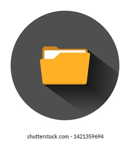 File folder icon in flat style. Documents archive vector illustration on black round background with long shadow. Storage business concept.