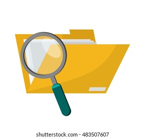 file folder and magnifying glass  icon
