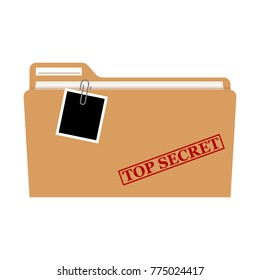 File folder with red rubber stamp top secret vector isolated, confidential, private information.