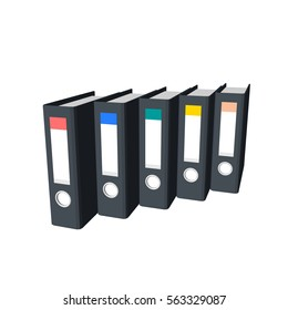 File folders.Isolated on white background. 3d Vector illustration.