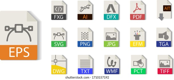 File format collection. FXG, AI,EPS, PDF, AIT, SVG, PNG, JPG, EMF, TGA, TIFF, TXT, WMF, PCT, DXF, DWG. File type vector and icons