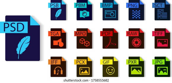 File format collection. PSD, PSB, PBM, PNG, SCT, TIFF, RAW, PDF, MPO, TGA, IFF, PCX, GIF, PXR, JPG. File type vector and icons.