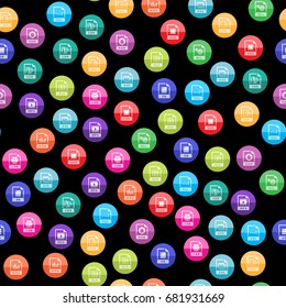 File format icon series in color circles. Seamless pattern. Background vector illustration.
