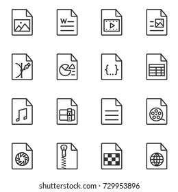 File format icon set. Line style. File extensions : AVI, JPG, MP3, PDF, XLS, PNG, MOV, DOC, EPS, PPT, ZIP, CSS, RAR, HTML, RAW, TXT. Lines with editable stroke.