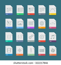 File format vector set isolated from background. Document types signs in flat style. Design file extensions.