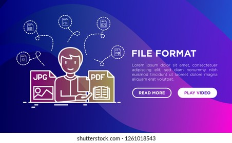 File formats concept: developer with JPG and PDF files. Modern vector illustration, web page template on gradient background.