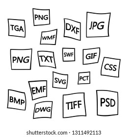 File formats flat icons set. White paper document pictograms with different file types, extensions. Web design graphic elements. Vector icons isolated on black background