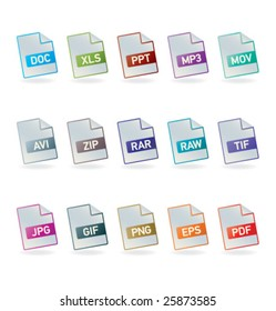 File formats icon set
