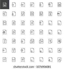 File formats outline icons set. linear style symbols collection, line signs pack. vector graphics. Set includes icons as txt, eml, archive, rating, sharing, picture, folder, video file, graphic, zip