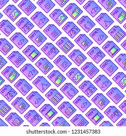 File formats seamless pattern with thin line icons: doc, pdf, php, html, jpg, png, txt, mov, eps, zip, css, js. Modern vector illustration for background.