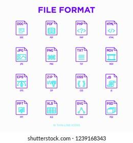 File formats thin line icons set: doc, pdf, php, html, jpg, png, txt, mov, eps, zip, css, js. Modern vector illustration.