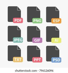 file formats vector icon set PDF, PNG, EPS, JPEG, GIF, AI, TXT, PPT, PSD