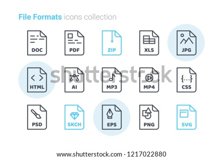 file formats vector icons stock vector (royalty free) 1217022880