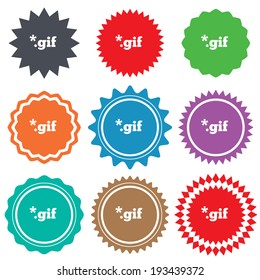 File GIF sign icon. Download image file symbol. Stars stickers. Certificate emblem labels. Vector