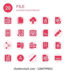 file icon set. Collection of 20 filled file icons included Folder, Copy, Upload, File, Navigation, Server, Picture, Doc, Pencil, Share, Notepad, Tasks, Diskette, Subtitles